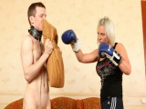 Hawt sporty babe's human boxing bag licking her tired feet after the workout