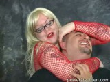 Plump Pro Domme smothers fellow using her arms