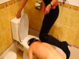 Domina tramples her nasty dude equipment and sticks his head into a toilet pan