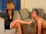 Strict Dominatrix tramples serf with sharp heels and then forces to feet licking