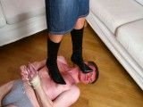 Yielding stud licks domina's boots and gets granted with some brutal trampling