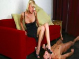 Blond dominatrix-bitch lets her villein lick her feet as a warmup before hard brutal drubbing