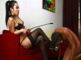 Sexy asian doxy is very inventive torturing her villein making him cry of pain