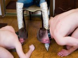 Solely 2 stripped slaves licking her boots clean together can satisfy Alla