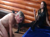 Perverse young babe kicks her mature villein in the a-hole in advance of harness bondage him up and spanking intense