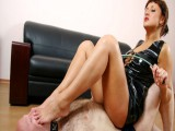 Feet licking and forced face sitting by a severe beauty and older guy