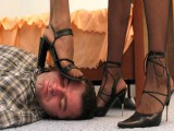 Feminized male gets a torture from black high heels