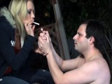 Cigarette deep up her slave's ass