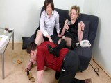 Submissive bondman gives his Pro Domme a ride on his back